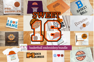 Sweet 16 Basketball Bundle | Applique Embroidery