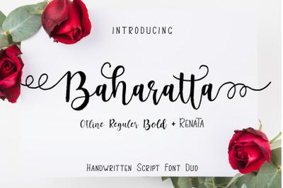 Baharatta Script Handwritting Font Duo