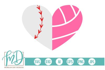 Baseball Volleyball Heart SVG