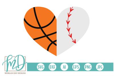Basketball Baseball Heart SVG