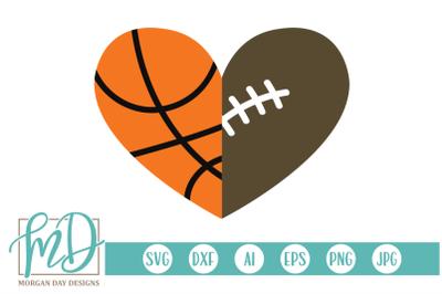 Basketball Football Heart SVG