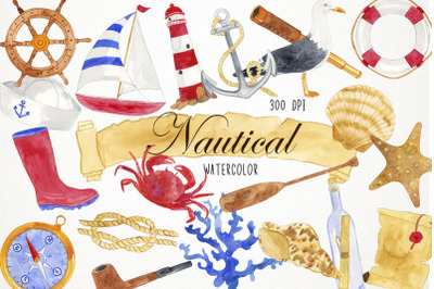 Watercolor Nautical Clipart, Nautical Clip Art