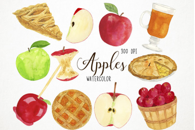 Watercolor Apples Clipart, Apples Clip Art