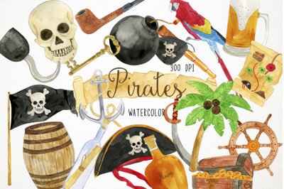 Watercolor Pirates Clipart, Pirates Clip Art