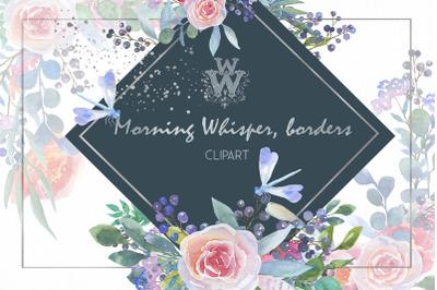 Blush pink Watercolor floral border clip art
