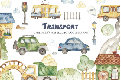 Transport. Children's watercolor collection.