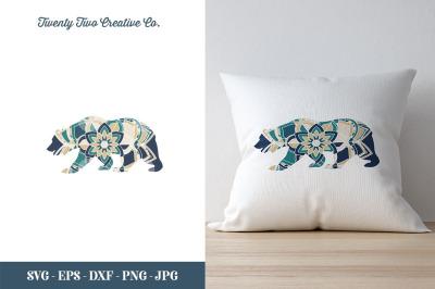 Bear Flower Zentangle SVG - SVG, EPS, DXF, JPG, PNG