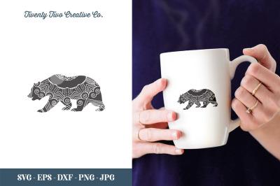Bear Zentangle Cut File - SVG, EPS, DXF, JPG, PNG