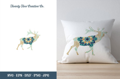 Deer Flower Zentangle Cut File - SVG, EPS, DXF, JPG, PNG