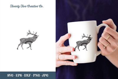 Deer Zentangle Cut File - SVG, EPS, DXF, JPG, PNG
