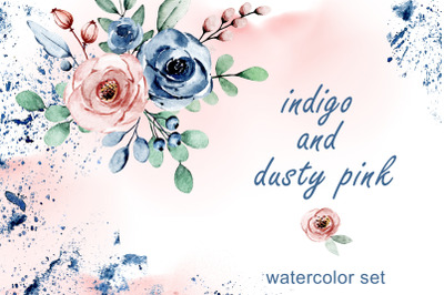 Indigo and dusty pink flowers roses watercolor set.