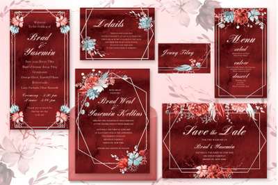 Marsala Watercolor Wedding Suite