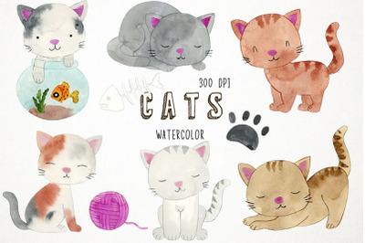 Watercolor Cats Clipart, Cats Clip Art