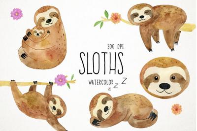 Watercolor Sloths Clipart, Sloths Clip Art