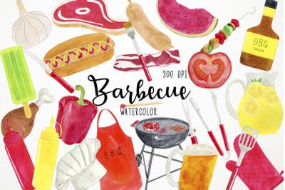 Watercolor BBQ Clipart, BBQ Clip Art, Barbecue Clipart, Barbecue Clip
