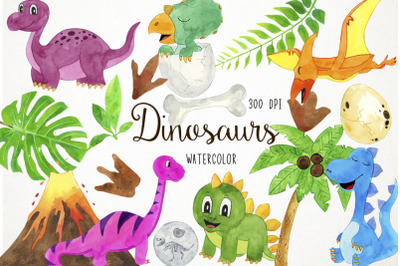 Watercolor Dinosaurs Clipart, Dinosaurs Clip Art, Dino Clipart, Dino C