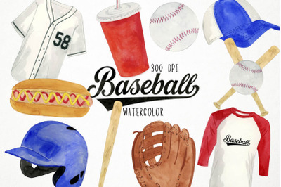Watercolor Baseball Clipart, Baseball Clip Art