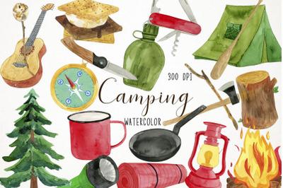 Watercolor Camping Clipart, Camping Clip Art