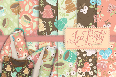 Tea Party 01 - Seamless Patterns & Digital Papers