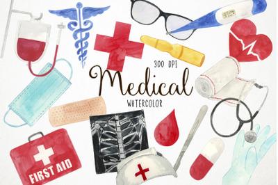 Watercolor Medical Clipart, Medical Clip Art