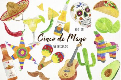 Watercolor Cinco de Mayo Clipart, Fiesta Clipart, Mexican Clipart
