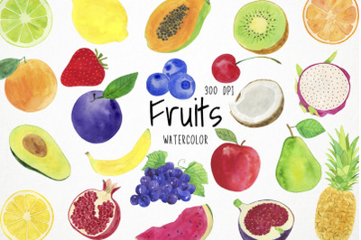 Watercolor Fruits Clipart, Fruits Clip Art