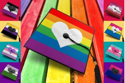 LGBT Pride Stripes & Heart Graduation Cap Decoration   SVG   PNG   DXF