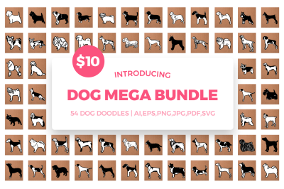 Dog Mega Bundle SVG Cut Files - 54 Dog Breeds Doodles