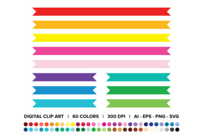 Flat Ribbon Clip Art Set