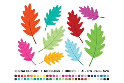 Oak Tree Leaf Clip Art Set