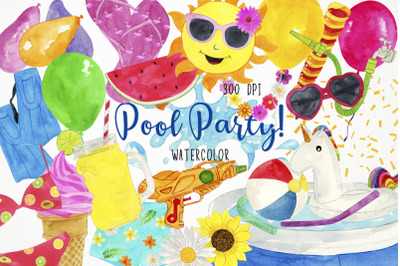 Watercolor Pool Party Clipart, Pool Party Clip Art, Pool Clipart