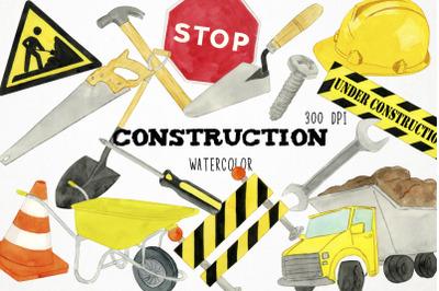 Watercolor Construction Clipart, Construction Clip Art