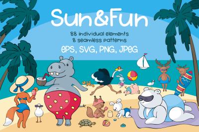Sun and Fun. Summer beach doodles set.