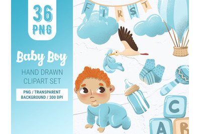 Baby boy digital hand drawn clipart set