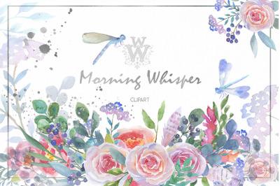 Blush pink Watercolor floral clip art, boho wedding rose peony
