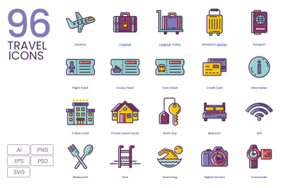 96 Travel Icons