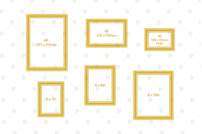 Standard Sizes Minimal Gilded Frames