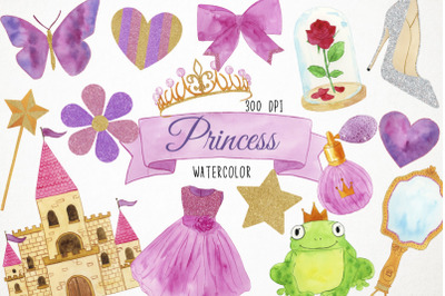 Watercolor Princess Clipart, Princess Clip Art