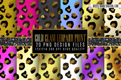 20 Gold Glam Leopard Print Patterns