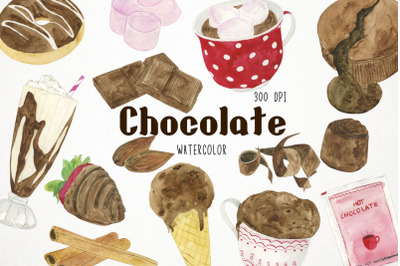 Watercolor Chocolate Clipart, Chocolate Clip Art