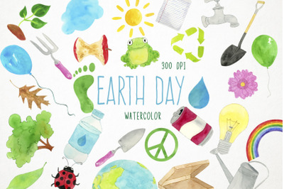 Watercolor Earth Day Clipart, Earth Day Clip Art