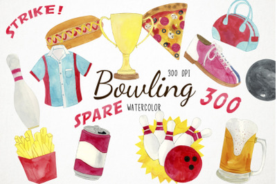Watercolor Bowling Clipart, Bowling Clip Art