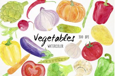 Watercolor Vegetables Clipart, Vegetables Clip Art