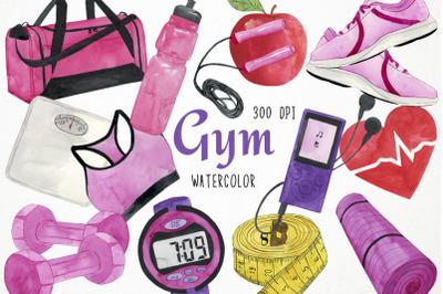 Watercolor Gym Clipart, Gym Clip Art