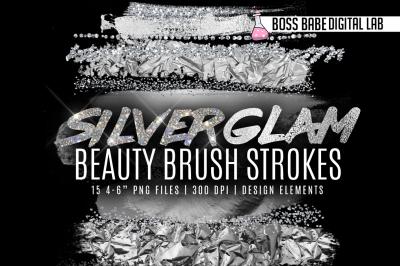 Silver Glam Beauty Brush Strokes