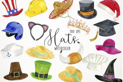 Watercolor Hats Clipart, Hats Clip Art