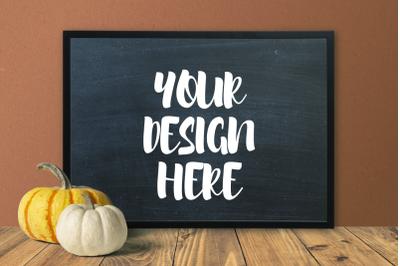 Pumpkin Blackboard Theme 50x70 Frame Mockup