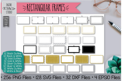 256 Rectangular Frames Clip Art | Hand Drawn Border & Decorative Label