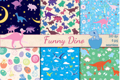 Funny Dino seamless patterns