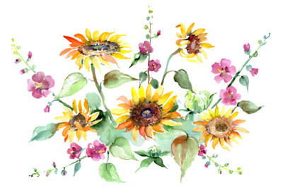 Bouquet of sunflowers Watercolor png